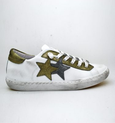 2Star Sneakers BIANCO GOLD LOW